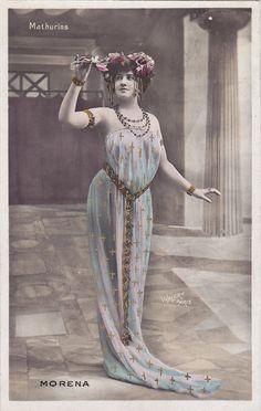 Morena with Flowered Art Nouveau Headdress by Julian Walery...1908