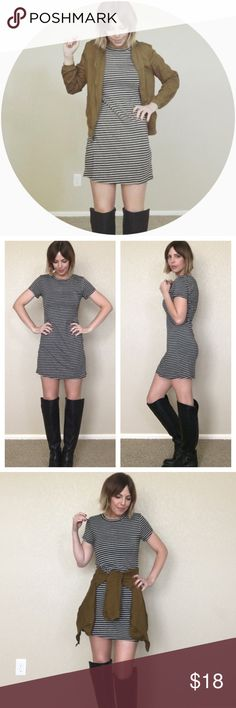 "Striped | T-Shirt | Dress Super soft and comfy t-shirt dress in black + light gray stripes. Easy and endlessly versatile, this dress is the perfect layering piece for fall!  •96% rayon; 4% spandex •Light, stretchy material •Small: Bust 14.5"" - Hips 16.6"" - Length 32"" •Medium: Bust 15.5"" - Hips 18"" - Length 33.5"" •Large: Bust 16.5""; Hips 18.5""; Length 34""  I'm wearing a medium. My stats for reference: 5'6""; waist 27""; hips 37""; chest 34C; 125ish pounds Dresses Mini"