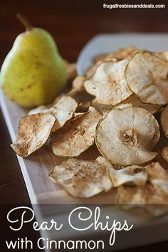Pear Chips with Cinnamon – Frugal Living Mom Want a light snack or dessert? These Pear Chips with cinnamon are super yummy and easy to make healthy Pear Recipes, Fruit Recipes, Real Food Recipes, Snack Recipes, Cooking Recipes, Healthy Recipes, Jelly Recipes, Healthy Work Snacks, Healthy Treats