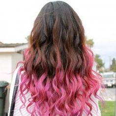 Pink ombre hair with curls hair-hair-hair-hair-lovely-hair Pink Ombre Hair, Hair Color Pink, Cool Hair Color, Purple Ombre, Blue Hair, Pastel Hair, Pastel Pink, Purple Tips, Hair Tips Dyed Pink