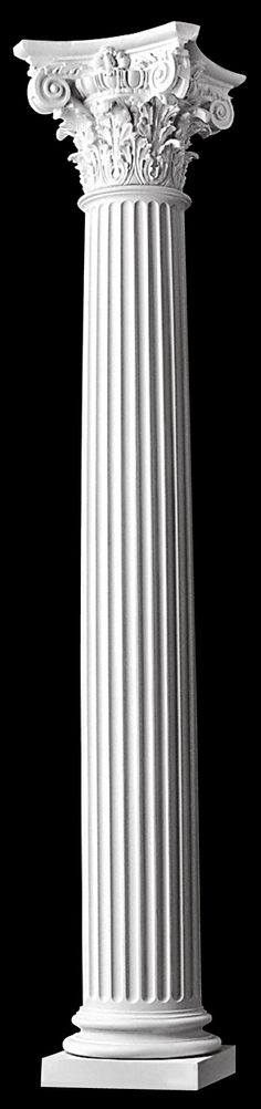 Fluted round non tapered roman corinthian columns with for Fluted fiberglass columns