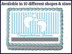 Blue Sweet Baby Toes Feet Edible Baby Shower by EBDesignAndPrint
