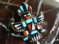 Vintage Zuni Knifewing Inlay Pendant Old Pawn  Lot by kajangles, $371.75