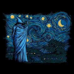 Lotr the hobbit gandalf in hobbiton van gogh Gandalf, Legolas, Fanart, Vincent Van Gogh, Midle Earth, Image Film, O Hobbit, Ecole Art, Jrr Tolkien