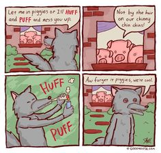 huffing and puffing Huff And Puff, Puff And Pass, Funny Quotes, Funny Memes, Let Me In, Three Little Pigs, Short Comics, Funny Pranks, Nursery Rhymes