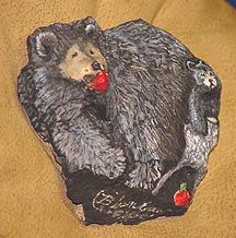 Black Bear licking a honey pot with cub. So artistically painted you won't believe it is a rock! Great gift or collectors item. Painted Rock Animals, Painted Rocks, Examples Of Rocks, Pet Rocks, Black Bear, Rock Painting, Rock Art, Mother Nature, Lion Sculpture