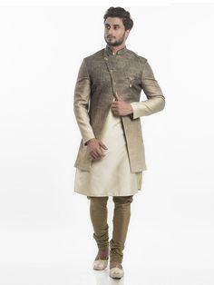 Shop Wedding wear silk indo western in beige color online from India. Sherwani Groom, Mens Sherwani, Wedding Sherwani, Nehru Jacket For Men, Nehru Jackets, Indian Men Fashion, Mens Fashion Suits, Groom Fashion, Men's Fashion