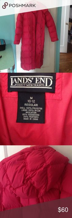 Lands End full length down coat Medium Coral pink full length thick old school quality quilted puffer jacket. Fleece lined exterior pockets. Removable hood. Worn to survive winter in Canada. Comparison price is a lot more as down has gone up in price the past decade. Lands End Jackets  Coats Puffers