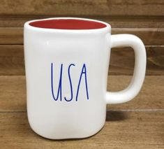 #raedunn #USAmug #patriotic Ray Dunn, Fourth Of July, Farmhouse Ideas, Farmhouse Style, Farmhouse Decor, Mugs, Coffee Bars, Kitchen Supplies, Ceramics