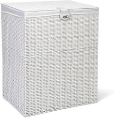 Laundry Clothes Basket with Lid and Lining Storage Basket with Removable Lining, White