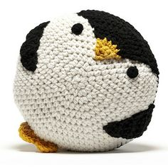 Peanut Butter Dynamite Crochet Acrylic Penguin Pillow (no pattern)
