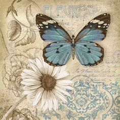 Vintage Butterfly, Blue Butterfly, Butterfly Flowers, Butterfly Artwork, Cartoon Butterfly, Butterfly Images, Butterfly Print, Vintage Pictures, Vintage Images