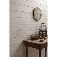 Lambris bois sapin brossé blanc ARTENS, 205x13.5cm ep. 13.5mm