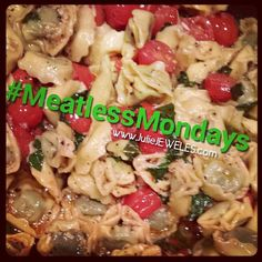 Another Meatless Monday recipe: Spinach Tortellini Sauteed With Garlic Cherry Tomatoes in EVOO