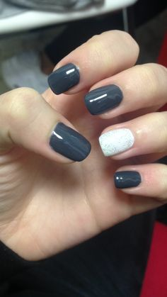 Dark gray and colored shimmer white #nails #nailsart