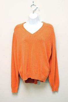 Lands End Women's Orange Knit V-Neck Sweater XL #LandsEnd #VNeck
