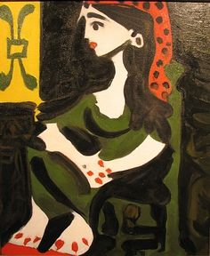 Jacqueline II  	 by Pablo Picasso  	 	 1959  	 #Paintings #art Oil on board