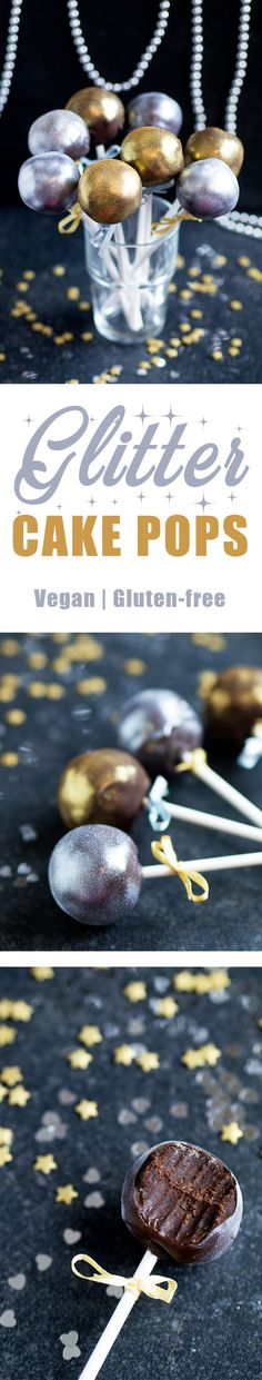 Glitter Vegan & Gluten-free Cake Pops #cakepops #newyears #newyear #newyearseve #recipe #healthy #party #partyfood #fingerfood #dessert #celebration #glitter #vegan #glutenfree #dairyfree #healthy #chocolate #cake