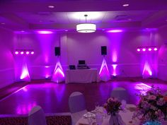This was for a smaller, more intimate wedding at Opryland....in the Ryman studios.  A mixture of pink/purple lighting to create a glow in the room.  https://www.facebook.com/media/set/?set=a.558781197495381.1073741840.350499414990228=1