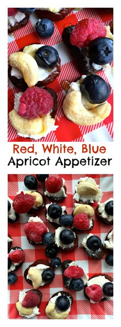 Red, White, Blue Apricot Appetizer #memorialday #glutenfree