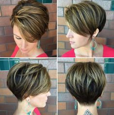 """hair_beauty-Long Layered Pixie With Highlights """"Dark Pixie with Top Layer Balayage With cute short haircuts, it's easier to commit to a partial b Short Hair With Layers, Short Hair Cuts For Women, Short Hairstyles For Women, Short Hair Styles, Bob Styles, Pixie Styles, Pixie Bob Haircut, Short Layered Haircuts, Pixie Hairstyles"""