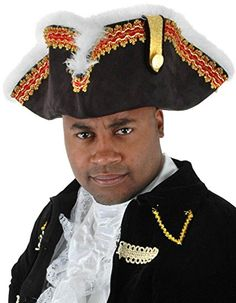 891ba4b7 Men's British Gov'nah Pirate Captain Tricorn Hat with Red and Gold Braid  Trim Accented