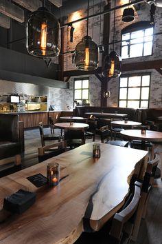 . Live Edge Furniture, Art Furniture, Deco Restaurant, Restaurant Design, Communal Table, Dining Table, Live Edge Bar, Greek Restaurants, Corporate Photography