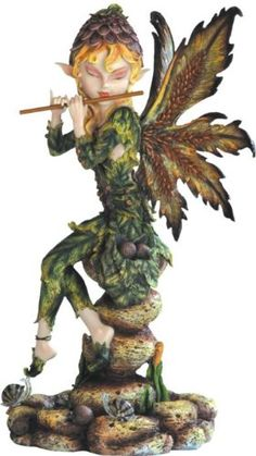 "14"" Sitting Forest Fairy Playing Flute Figurine. #Fairy #Figures #Sculptures #Figurines #Fantasy #gosstudio #Gift .★ We recommend Gift Shop: http://www.zazzle.com/vintagestylestudio ★"