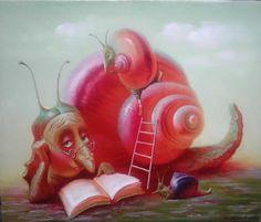 Valentin Rekunenko. Caracol tratando de continuar su lectura en el medio de la turbulencia de una niño. (Interpretación personal de la obra por el cartel!)
