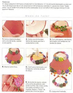 tchau stress artesanatos: Abajur decorado com fuxicos