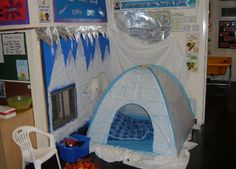 A super North Pole classroom display photo contribution. Great ideas for your classroom! Dramatic Play Themes, Dramatic Play Area, Dramatic Play Centers, School Displays, Classroom Displays, Classroom Decor, Polar Animals, Polar Bear, Role Play Areas
