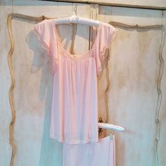 This flutter-sleeve cami makes a pretty pajama or lounge top that kisses the skin in soft jersey.  The matching #pj pants are a must!   #sosoft #pretttyinpink #ruffles #girly #pajamas #lounge #loungelife #eberjey #theartofsoftcozychic #tldfairhope