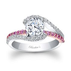 White & Rose Gold Engagement Ring with Pink Sapphires 7848LPS