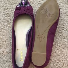 Shoes Purple color suede leather is topped with subtle bow and brilliant toe box  jewels. Enzo Angiolini Shoes