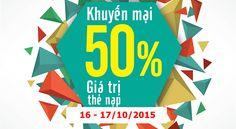 Khuyến mãi Viettel tặng 50% thẻ nạp ngày 16 và 17/10/2015
