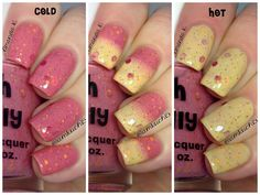 """NEW--""""Sizzling Sunset"""" -Color Changing Thermal Nail Polish:  Custom-Blended Indie Glitter Nail Polish / Lacquer"""