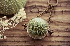 Moss Necklace Green Reindeer Lichen Pendant by TheCreakingDoor
