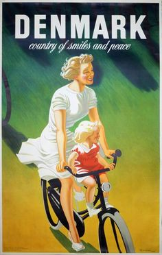 Vintage Travel Poster - Denmark country of smiles Old Posters, Retro Poster, Vintage Travel Posters, Vintage Advertisements, Vintage Ads, Retro Ads, Vintage Bikes, Denmark Country, Denmark Travel
