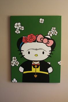 Hello Kitty Frida Kahlo painting- 18x24 acrylic on canvas- cartoon art- mexican- pop art