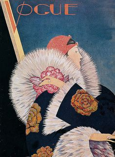 Vintage Deco Vogue Cover ~ Flapper in Fur ~ Vogue cover by George Plank, Jan. 1927