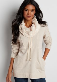 dolman pullover sweatshirt with metallic shimmer and faux fur cowl neck (original price,  $29.00 ) available at #Maurices