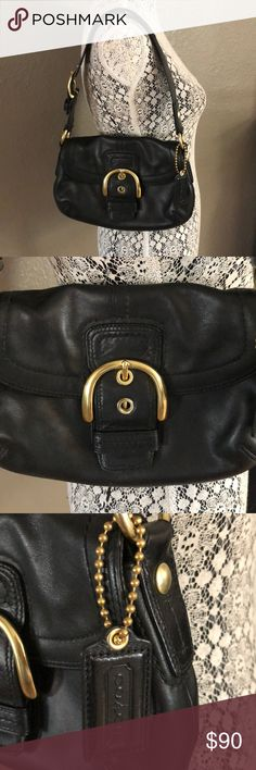 Authentic Coach black leather shoulder purse Gorgeous leather coach shoulder bag Like new.  Only used a few times Black with gold brass hardware Soho buckle Coach Bags Shoulder Bags