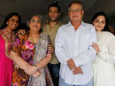 Salman Khan with his father, mother, and two sisters.