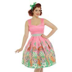 Lindy Bop Mona Pink Circus Print Swing Dress 8-22