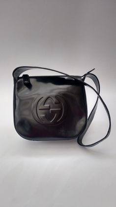GUCCI Bag . Gucci Vintage Black Leather Shoulder Bag . Italian Designer  Purse - Tom Ford era a9e22f8d6640e