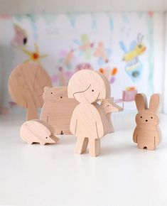 Handmade wooden toy set Girl and forest friends. Our toys are safe, ecological, natural and long-lasting. Simple design, playful and small size figures are perfect for little hands to hold and use in play. The toys are fun for toddler and preschooler as well. They help kids to