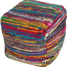 Made from recycled Indian sari silk fabrics, our colorful rag bohemian pouf is both beautiful and durable. Handwoven scraps create interesting color patterns and texture. This fabric cube ottoman is a