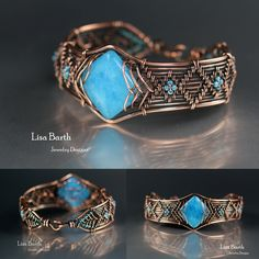 Hand woven bracelet in copper with a blue Quartz stone as the centerpiece. -- Lisa Barth