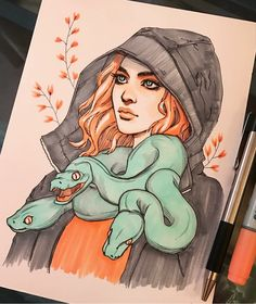 Girl with snake drawing