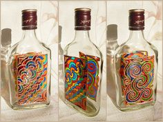 Glass BOTTLE | glass flacon | stained glass, hand painted, vitrage | Celtic, fantasy, colorful rainbow | Spring, Ostara, Mother's Day | OOAK